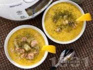 Супа от филе от сьомга с картофи, сметана и копър в Делимано Мултикукър